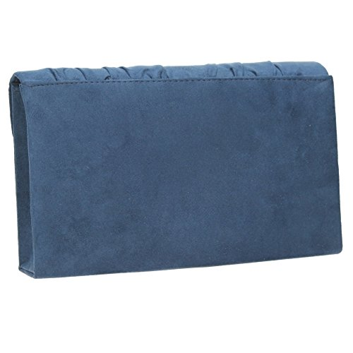 SwankySwans - Iggy Suede Velvet Envelope Party Prom Clutch Bag, Sacchetto Donna Navy blue