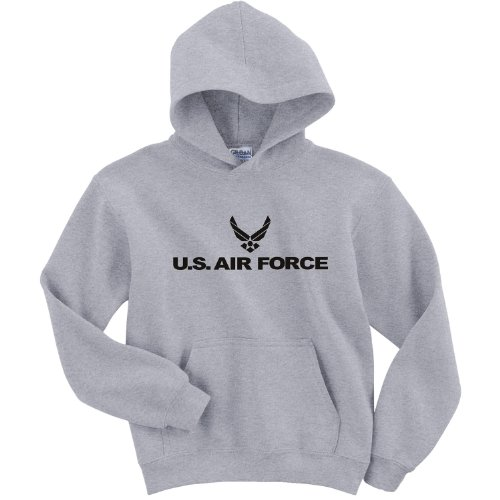 Youth Air Force Hooded Sweatshirt in Gray - Large (14/16)