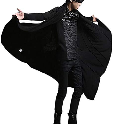 Pandapang Mens Classic Open Front Cardigan Outwear Long Cape Poncho Trench Coat Black XL