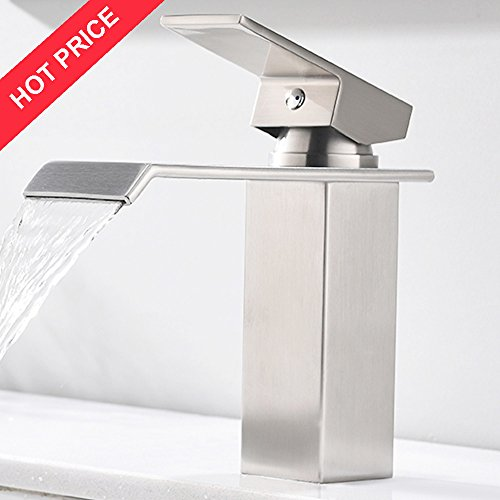 Cheap  Friho Modern Commercial Lead-Free Brushed Nickel Single Hole Bathroom Vanity Waterfall Bathroom..