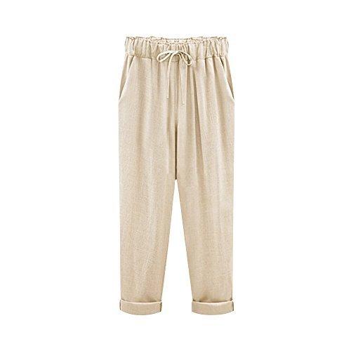 Sobrisah Women's Elastic Waist Casual Relax Capris Pants Cotton Linen Cropped Pants With Drawstring Khaki Three Quarter Length Tag 3XL-US 10