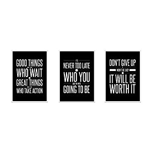Don't Give Up (13×19) Motivational (3-Set) Inspirational Posters Quote Wall Workout Sports Art – Black & White Boy Girl Teen Fitness Wall Home Decor Office Classroom Dorm Room Gym Entrepreneur