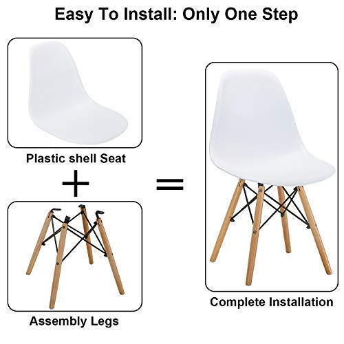 VECELO Mid Century Modern Style Side Chairs with Natural Wood Legs (Set of 4) Easy Assemble for Kitchen Dining, Living Room,Bedroom, Standard, White by VECELO (Image #1)