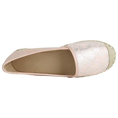 Stiefelparadies Damen Espadrilles Bast Slipper Glitzer Sommerschuhe Metallic Flats Pailetten Stoff Schuhe Plateau Flandell Rosa Brito
