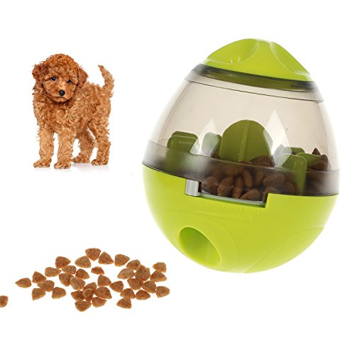 smartelf Dog Treat Dispenser Ball Toy,Pet Food Ball Puzzle Interactive Treat Ball for Dogs & Cats Small Medium Large Dogs Bowl Feeding,Increases IQ and Mental Stimulation(Green)