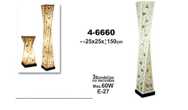 LAMPARA DE PIE FIBRA/NACAR 150X25X25 CM _: Amazon.es ...