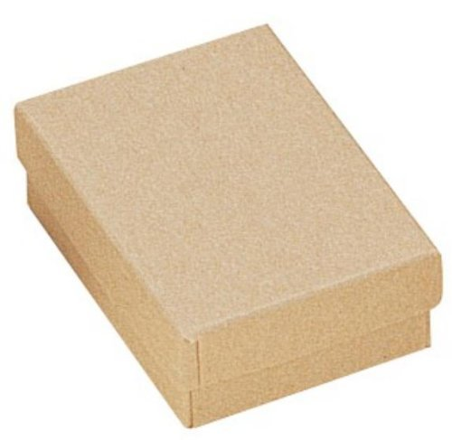 100 KRAFT BROWN COTTON FILLED BOXES 3.25'' x 2.25'' x 1'' for Jewelry and Gifts