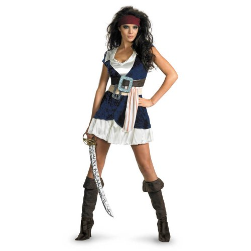 Disguise Unisex Adult Sassy Jack Sparrow, Blue/White, X-Large (18-20) Costume]()