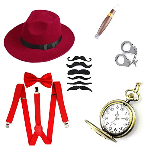 1920s Gatsby Gangster Costume Accessories Halloween Cosplay Set