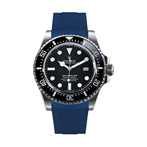 [ラバービー] RubberB ラバーベルト ROLEX シードゥエラー4000専用ラバーベルト(尾錠付き)(ブルー)※時計は付属しません(Watch is not included)[並行輸入品]  B01I6HLZCK