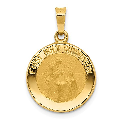 14k Polished and Satin First Holy Communion Medal ()