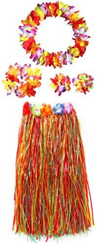 Adults Hawaiian Hula Grass Skirts Dance Wears Set(Multicolor 31.5