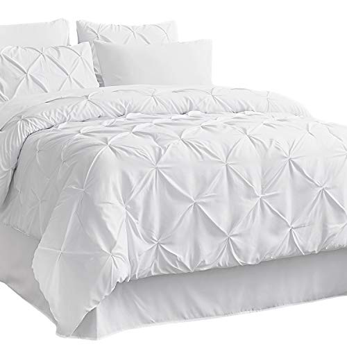 Bedsure Comforter Set Full/Queen Bed in A Bag White 8 Pieces - 1 Pinch Pleat Comforter(88X88 inches), 2 Pillow Shams, Flat Sheet, Fitted Sheet, Bed Skirt, 2 Pillowcases