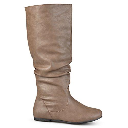 Brinley Co Women's Joey Riding Boot Regular & Wide Calf Taupe