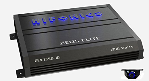 Hifonics Zeuz ELITE ZEX1350.1D Car Audio 1300 Watts RMS Mono Block Amp with Blue illuminated Logo 1 Ohm Stable Class D Subwoofer Black Amplifier with Remote Bass Boost Control Knob Included