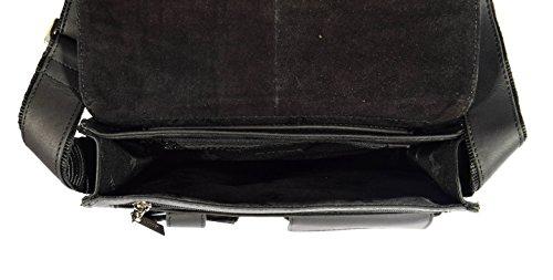 Borsa del Messaggero di Pelle Reale Delluomo Cassa del iPad Vintage Sacchetto di Spalla Los Angeles Nero