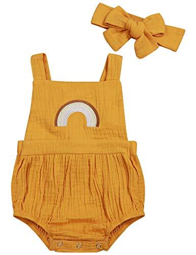(Oklady Infant Newborn Baby Girl Romper Ruffle Cotton Flutter Sleeve One-Piece Bodysuits 6-12Months)