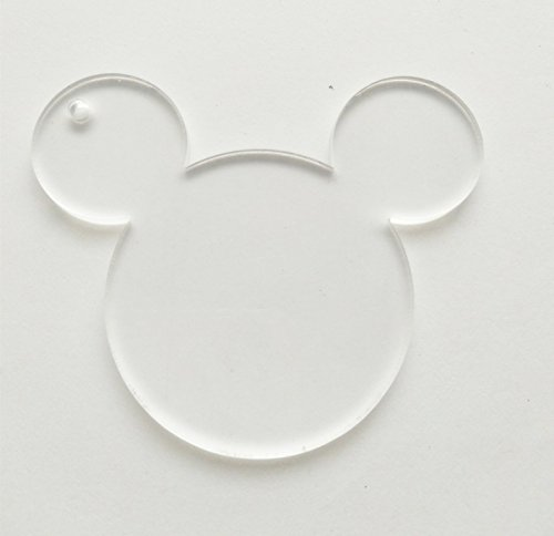 10pcs/lot Blank Clear Acrylic Mouse Head Charms, Plexiglass Laser Cut Blank Keychain Necklace DIY Accessory 1/8'' Thickness (3'') by RUIXUAN LASER CUT (Image #2)