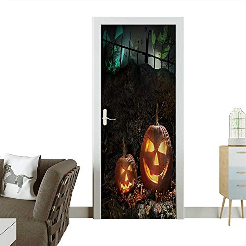 (Door Sticker Wall Decals Halloween Pumpkins on Rocks in a Forest at Night Easy to Peel and Stick W30 x H80 INCH)