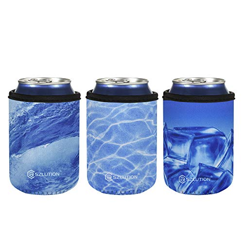 Case Star Neoprene 12OZ Standard Can Sleeves Cooler Insulators Beer Can Bottle Coolers Standard Can Coolies for 12 OZ Standard Red Bull, Michelob Ultra, Spiked Seltzer,Truly - Great-Blue Ocean