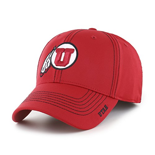 NCAA Utah Utes Adult Start Line Ots Center Stretch Fit Hat, Medium/Large, Red
