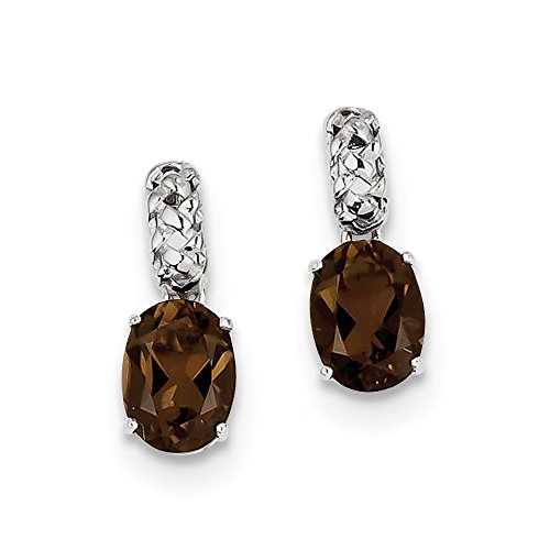 Sterling Silver Polished Post Earrings Rhodium-plated Smokey Quartz Earrings