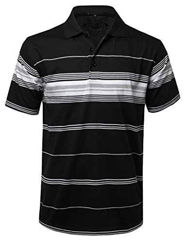 NE PEOPLE Men's Everyday Basic Stripe Polo T-Shirts ()