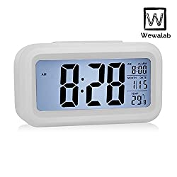 Wewalab Alarm Clock, Great Large LCD Display Digital Alarm Easy to Set and Watch,Low Light Sensor Technology Soft Night Light Repeating Snooze Month Date & Temperature Display,White
