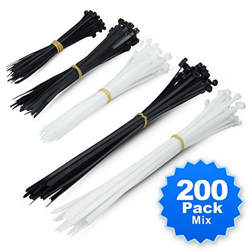(Simple Deluxe 200-Pack 6+8+12 Inch Self-Locking Versatile Nylon Cable Wire Zip Ties in Black & White)