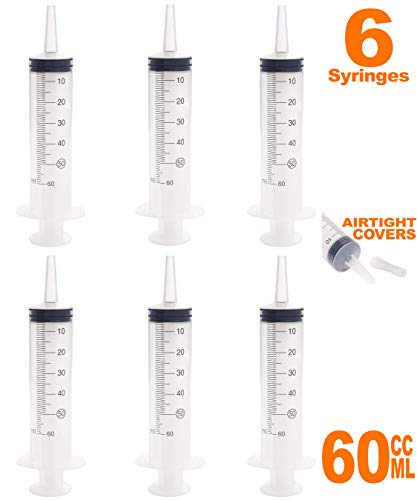 50ml - 60ml Catheter Tip Syringe with Airtight Covers - Value Pack of 6 Large Disposable Sterile Syringes Without Needle by MKsupplies - Infant Feeding Syringe