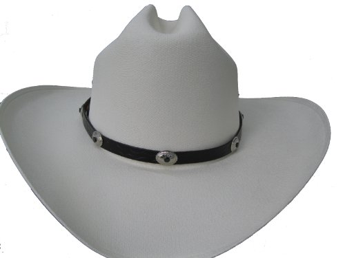 Hat Band - #929 - Black with Black Center and Silver Plated - Fancy Concho