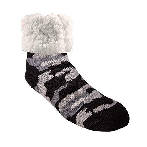 Pudus Camo Grey Cozy Winter Slipper Socks for Women and Men with Non-Slip Grippers and Faux Fur Sherpa Fleece - Adult Regular Fuzzy Socks from Pudus