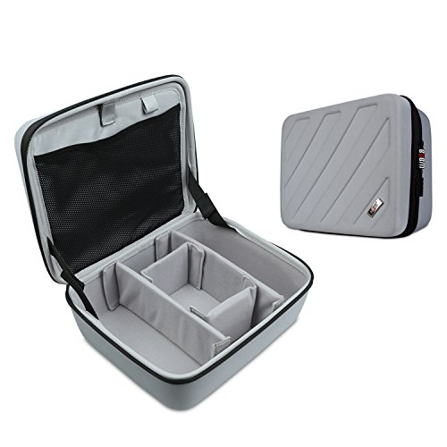 Hard Padded Case (Carrying Case for GoPro Hero 6/5/4/3+/3/2/1,Electronic Organizer,Hard Shell Travel Storage Bag for Makeup,Cables,Flash Hard Drive, Power Bank and More)