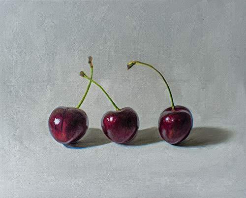 (Cherry Trio - Artist Signed Original Oil Painting Handmade Modern Home Wall Art Decor - Direct from the Artist, 8