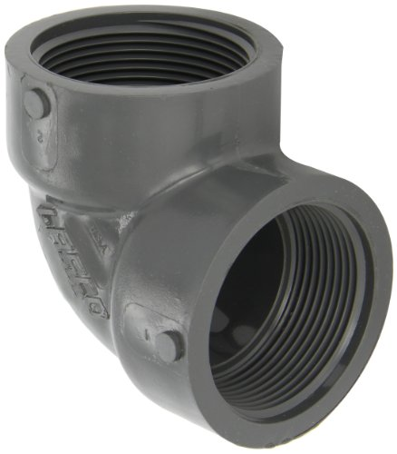 GF Piping Systems PVC Pipe Fitting, 90 Degree Elbow, Schedule 80, Gray, 1 NPT Female
