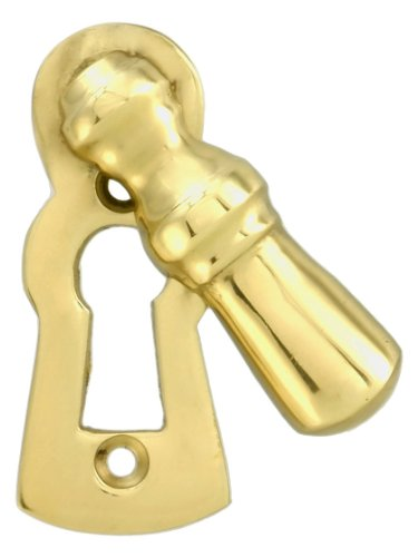Solid Brass Colonial Keyhole Cover With Swinging Draft Cover. Escutcheon Keyhole Cover Swivel - Cover Keyhole Brass