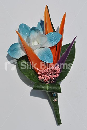Tropical Bird of Paradise Flower and Blue Dendrobium Orchid Wedding (Dendrobium Orchid Pin)