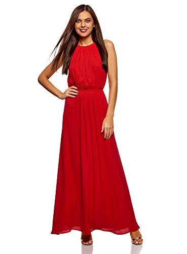 oodji Ultra Mujer Vestido Largo con Jaretas en la Cintura Rojo (4500n)