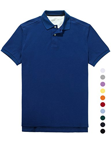Fastorm Mens Solid Polo Shirts Short Sleeve Collared Golf Pique Polo Wicking Shirt Royal Blue Small - Antimicrobial Short Sleeve Polo Shirt