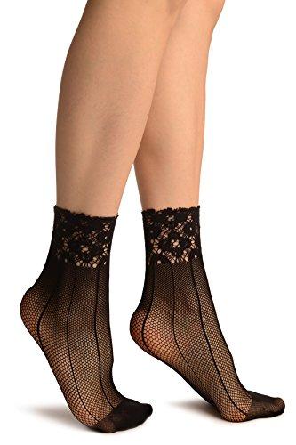 Black Pinstriped Mesh Socks Ankle High - Socks
