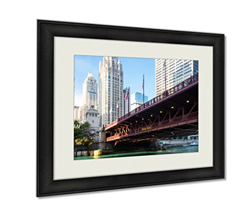 Ashley Framed Prints, The Iconic Dusable Bridge And Michigan Ave In Chicago Illinois USA On A Hot, Wall Art Decor Giclee Photo Print In Black Wood Frame, Ready to hang, - Tower Water Chicago Place