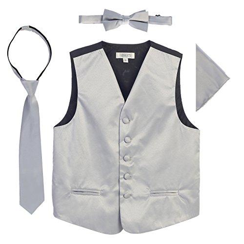 (Gioberti Boys 4pc Satin Formal Vest Set,Silver E,2-3)