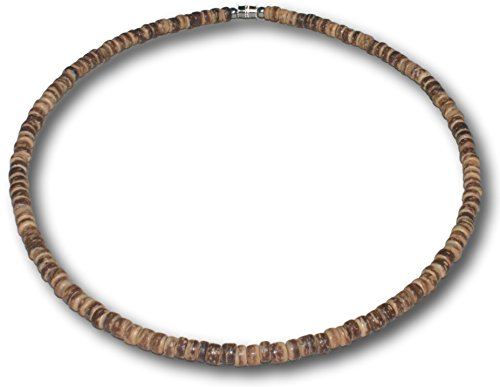 Native Treasure 17 inch Mens Brown Tiger Coco Shell Wood Bead Surfer Necklace or Bracelet - 5mm (3/16
