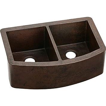 Elkay ECUF3319ACH Equal Double Bowl Copper Farmhouse Sink
