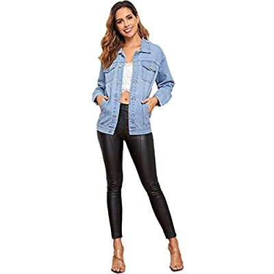 Floerns Women's Classic Button Up Denim Jean Jacket with Pockets at Women's Coats Shop
