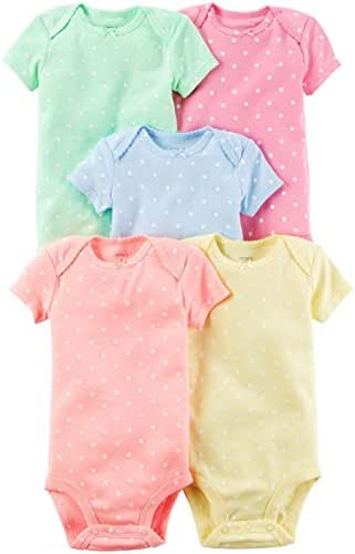 Carter's Baby Girls Short-Sleeve Safari Bodysuit, Pack of 5