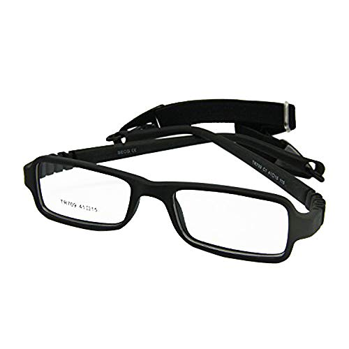 EnzoDate Baby Eyeglasses & Strap Size 41/15, Rectangle Children Glasses Frame with Elastic Cord, Flexible One-piece Frame & Band Retainer (black)]()