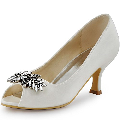 Satin Sparkle Heels - ElegantPark HP1540 Women Peep Toe Pumps Leaf Rhinestones Comfort Heel Satin Wedding Bridal Dress Shoes Ivory US 6
