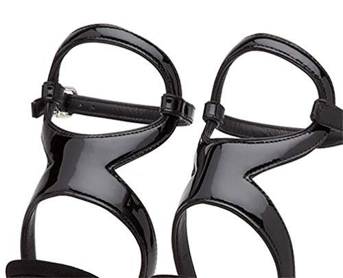 Personalidad Up A Tacón Sandalias Black Sobrepeso Artificial 12cm Europa Zapatos Y Con De Color Juego Lentejuelas Cena América Alto Cómodos x7FztF