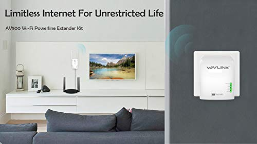 WAVLINK AV500 WiFi Extender Powerline Ethernet Adapter Kit (Primary Extender + Secondary Extender) with Power Outlet Pass-Through, Ethernet Port, Wired Up to 500Mbps, Wireless Up to 300Mbps by WAVLINK (Image #1)